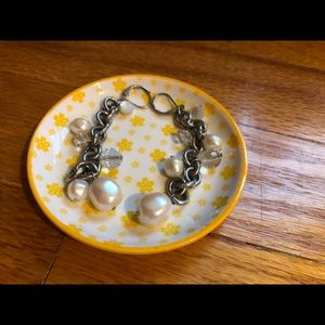 Jewelry - pearl and chain earrings